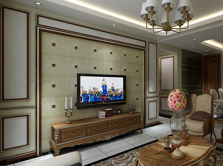 皮雕软包电视背景墙欧式风格