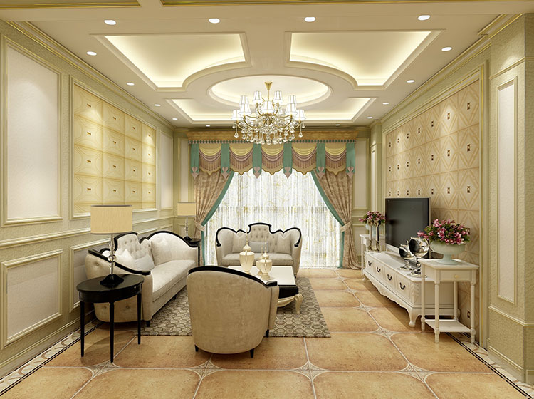 客厅皮墙整装欧式风格
