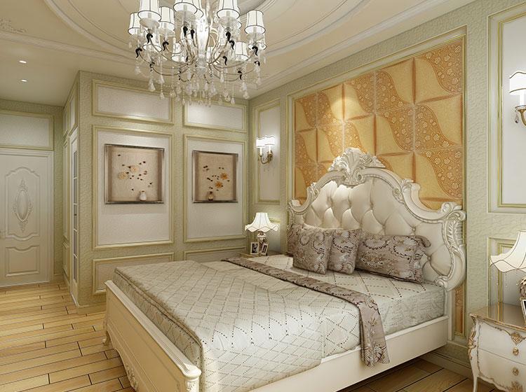 卧室欧式风格皮雕软包背景墙