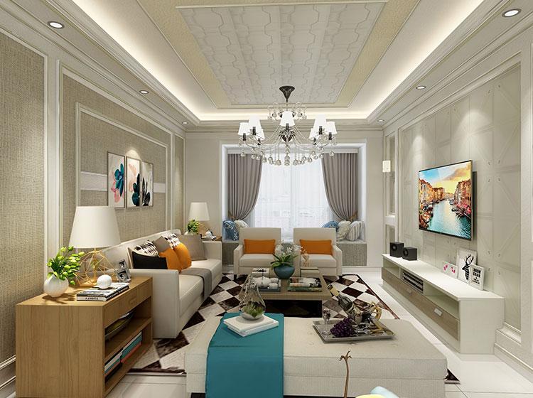 现代简约风格客厅P皮护墙板整装案例