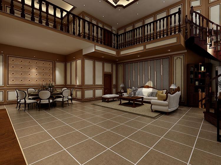 别墅中式风格皮墙全屋整装