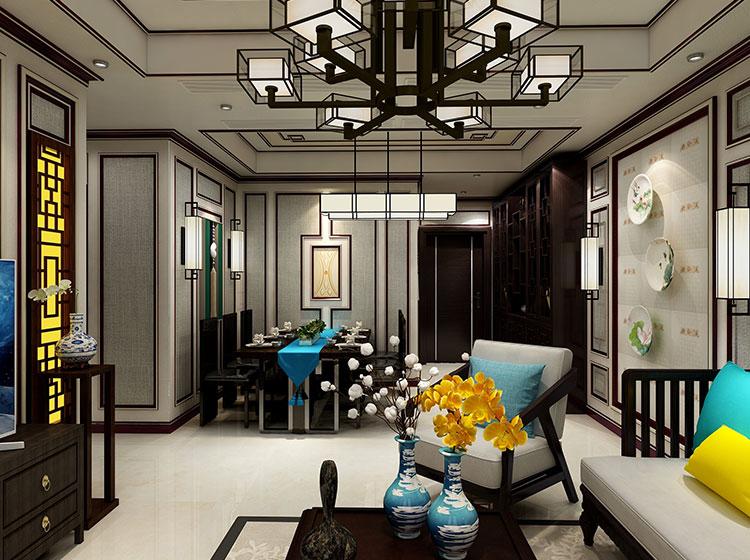 中式风格客餐厅全屋整装案例