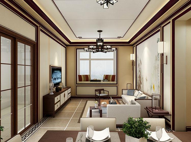 中式风格客厅P皮护墙板整装案例