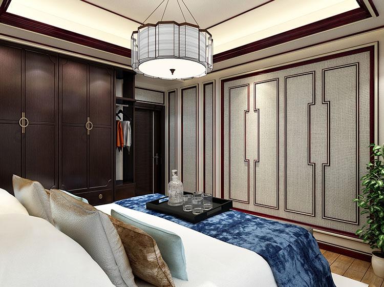 客厅中式风格皮雕软包整装案例