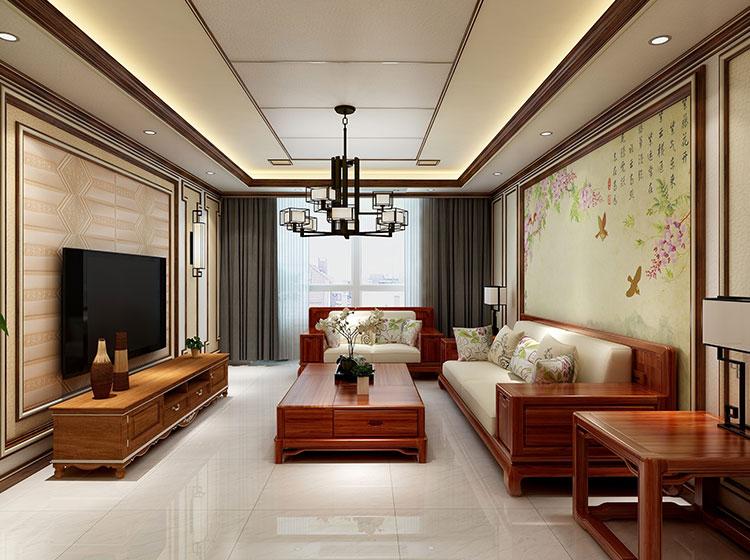 客厅中式风格浮雕画整装案例