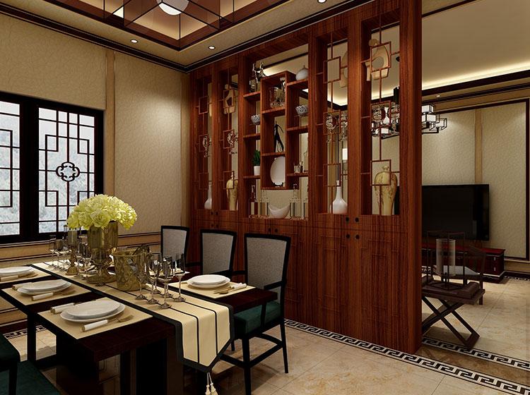 餐厅中式风格P皮护墙板整装案例