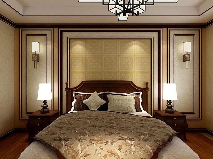 卧室床头皮雕软包背景墙中式风格案例